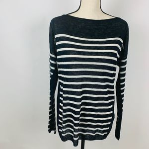 Vince 100% Linen Striped Navy Nautical Sweater